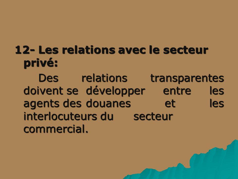 12- Les relations avec le secteur privé: