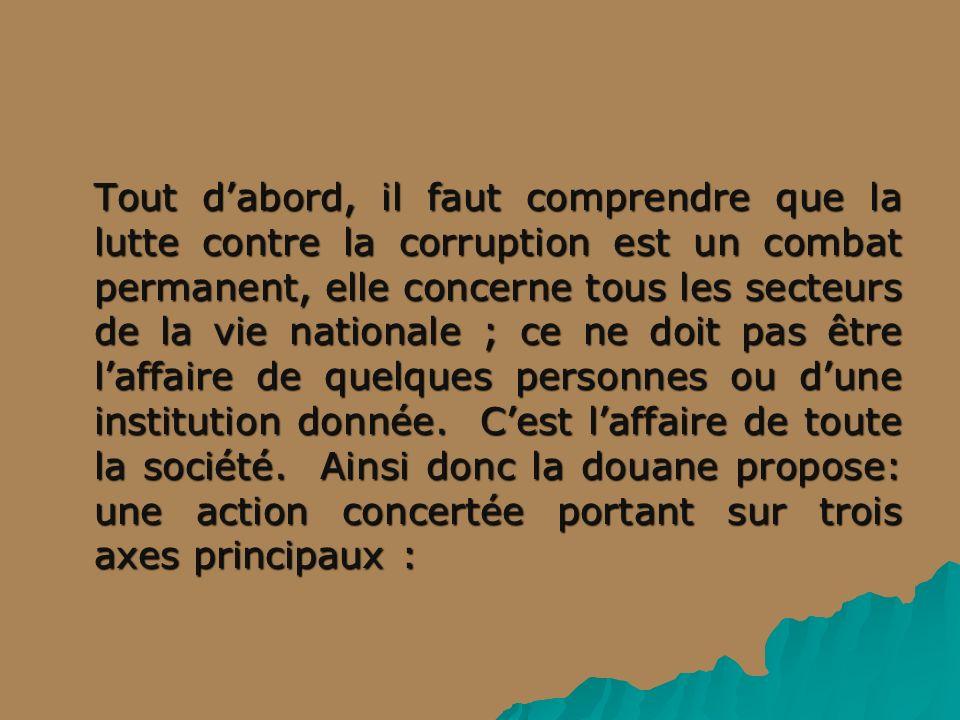 Tout d'abord, il faut comprendre que la lutte contre la corruption est un combat permanent, elle concerne tous les secteurs de la vie nationale ; ce ne doit pas être l'affaire de quelques personnes ou d'une institution donnée.
