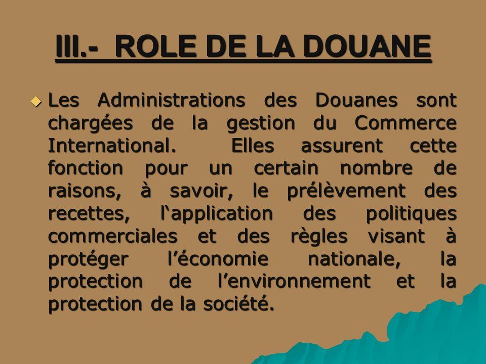 III.- ROLE DE LA DOUANE