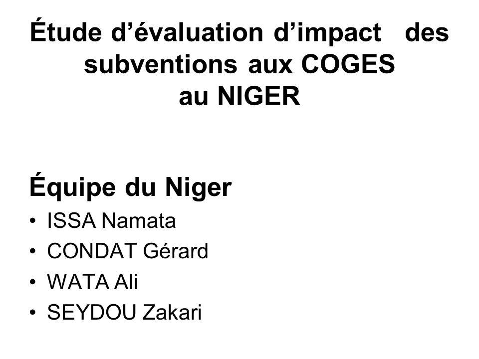 Étude d'évaluation d'impact des subventions aux COGES au NIGER