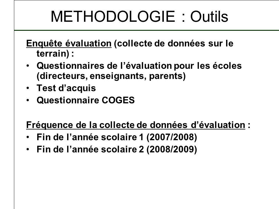 METHODOLOGIE : Outils Enquête évaluation (collecte de données sur le terrain) :