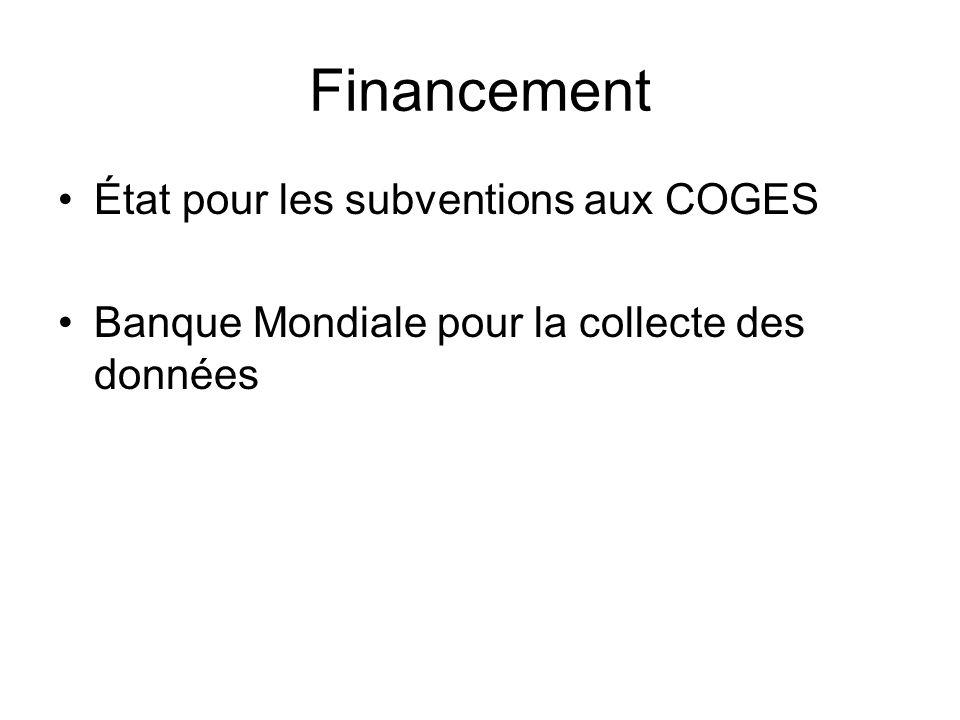 Financement État pour les subventions aux COGES
