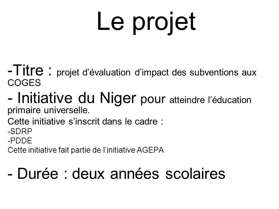 Le projet -Titre : projet d'évaluation d'impact des subventions aux COGES. Initiative du Niger pour atteindre l'éducation primaire universelle.