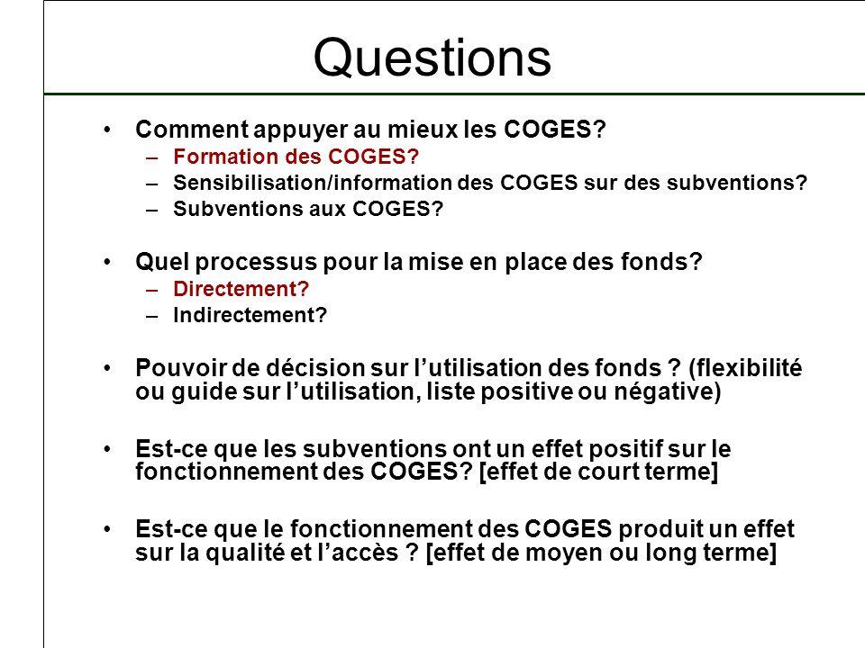 Questions Comment appuyer au mieux les COGES