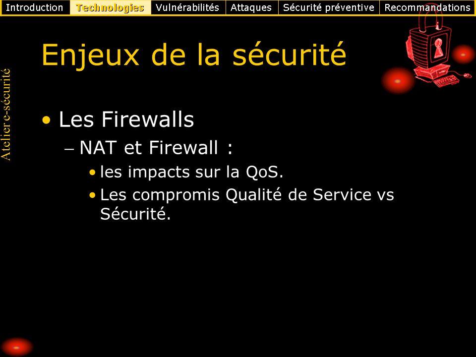 Enjeux de la sécurité Les Firewalls NAT et Firewall :