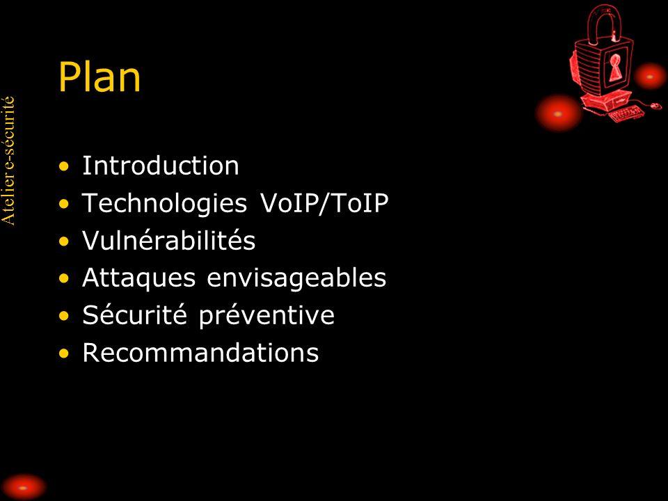 Plan Introduction Technologies VoIP/ToIP Vulnérabilités
