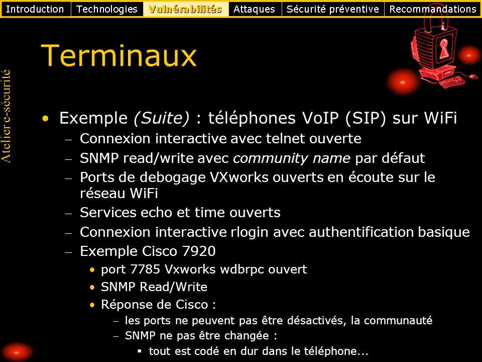 Terminaux Exemple (Suite) : téléphones VoIP (SIP) sur WiFi