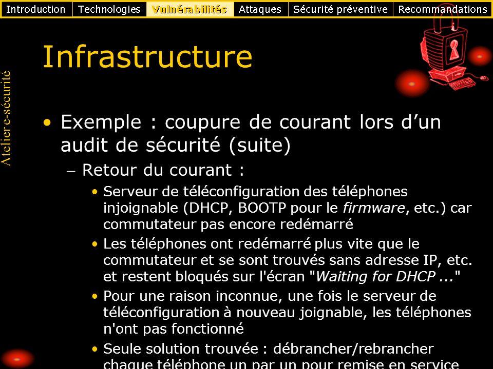 Infrastructure Exemple : coupure de courant lors d'un audit de sécurité (suite) Retour du courant :