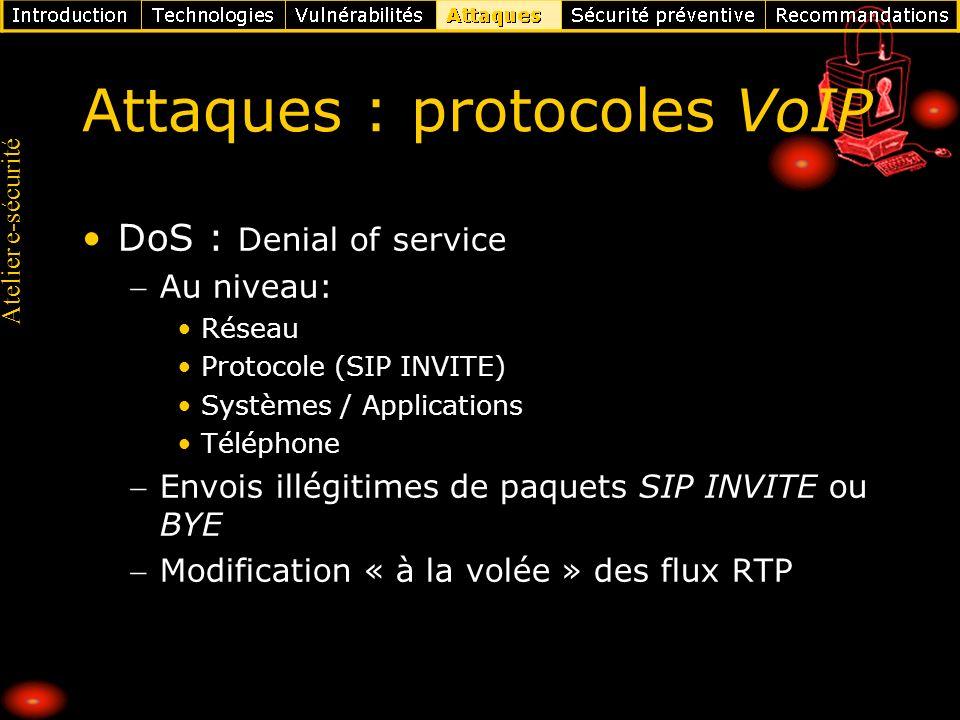 Attaques : protocoles VoIP
