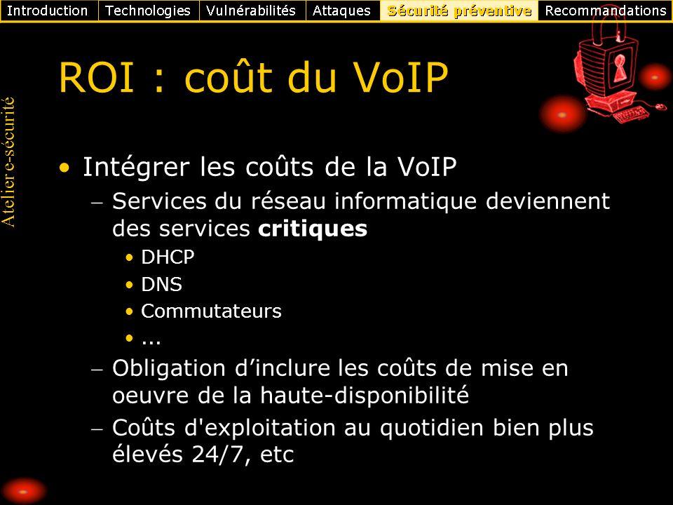 ROI : coût du VoIP Intégrer les coûts de la VoIP