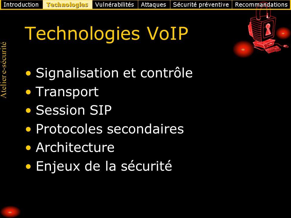 Technologies VoIP Signalisation et contrôle Transport Session SIP