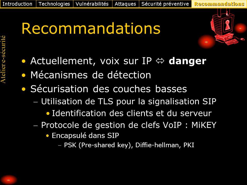 Recommandations Actuellement, voix sur IP  danger