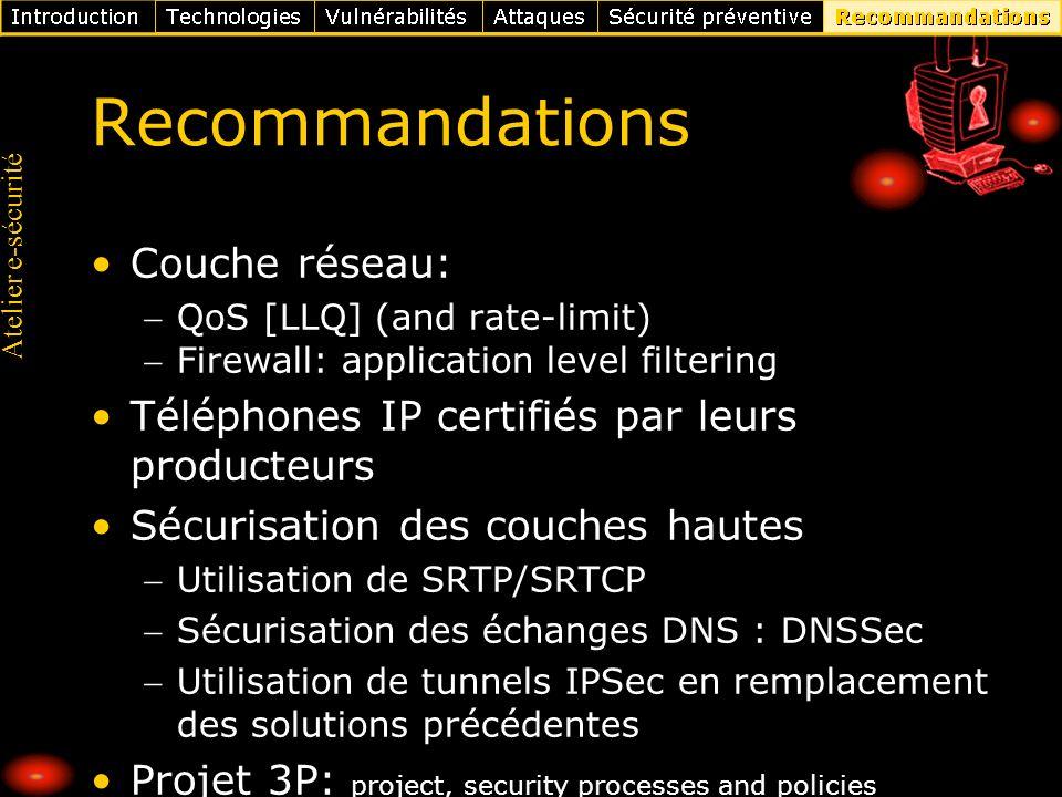 Recommandations Couche réseau: