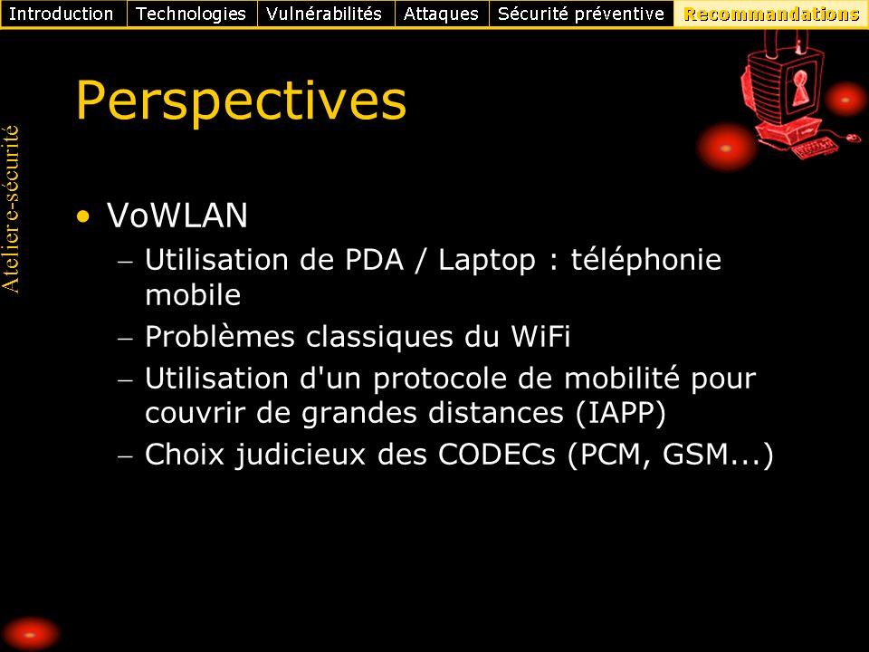 Perspectives VoWLAN Utilisation de PDA / Laptop : téléphonie mobile