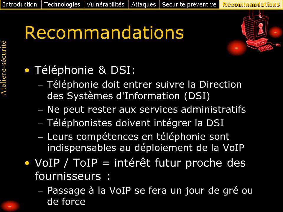Recommandations Téléphonie & DSI: