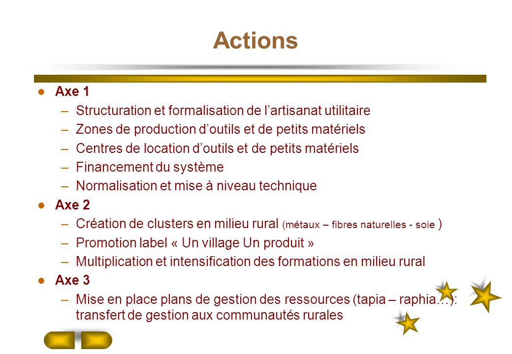 Actions Axe 1 Structuration et formalisation de l'artisanat utilitaire