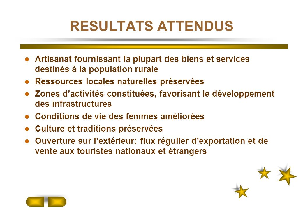 RESULTATS ATTENDUS Artisanat fournissant la plupart des biens et services destinés à la population rurale.