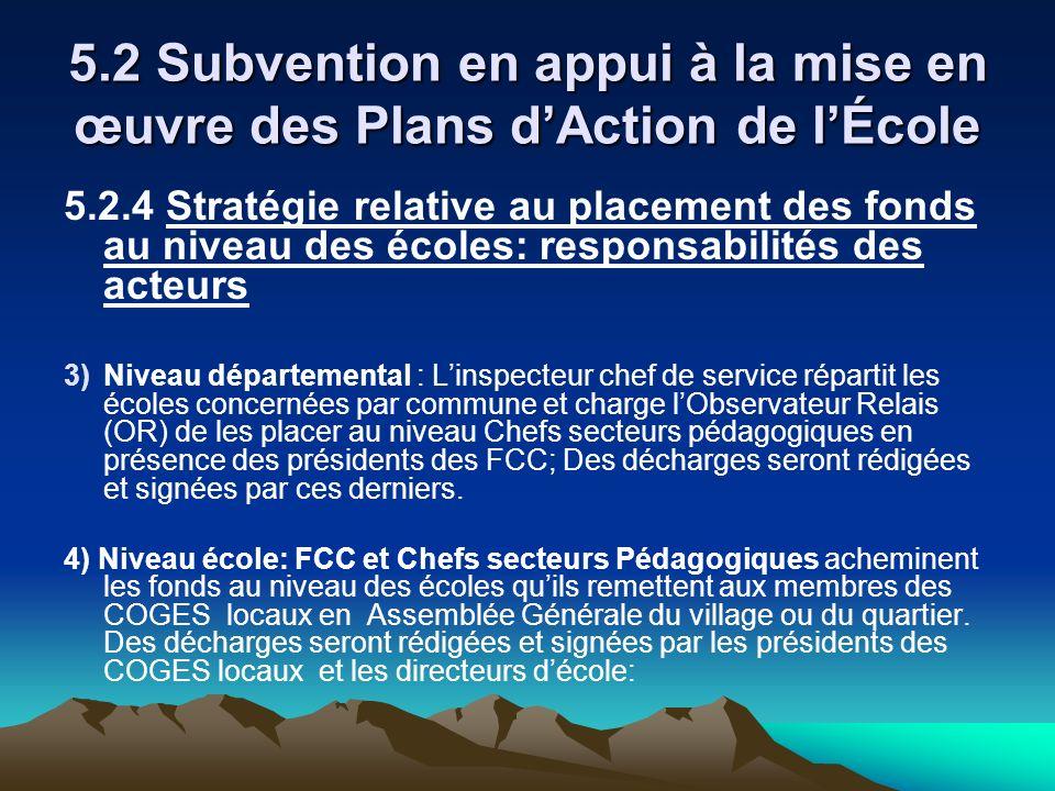 5.2 Subvention en appui à la mise en œuvre des Plans d'Action de l'École