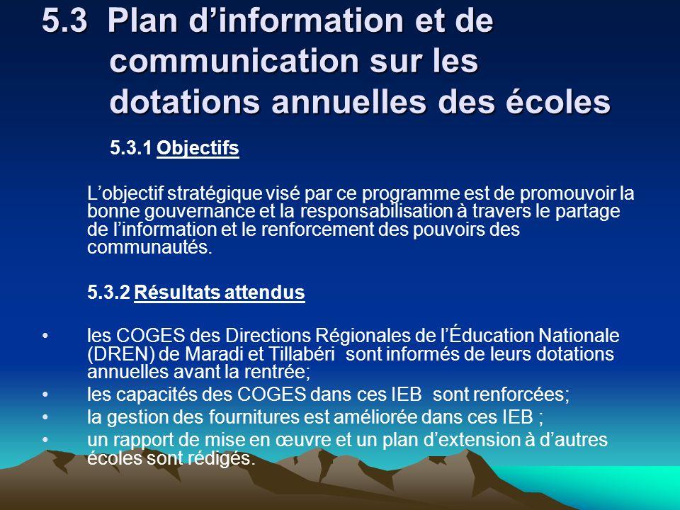 5. 3 Plan d'information et de. communication sur les