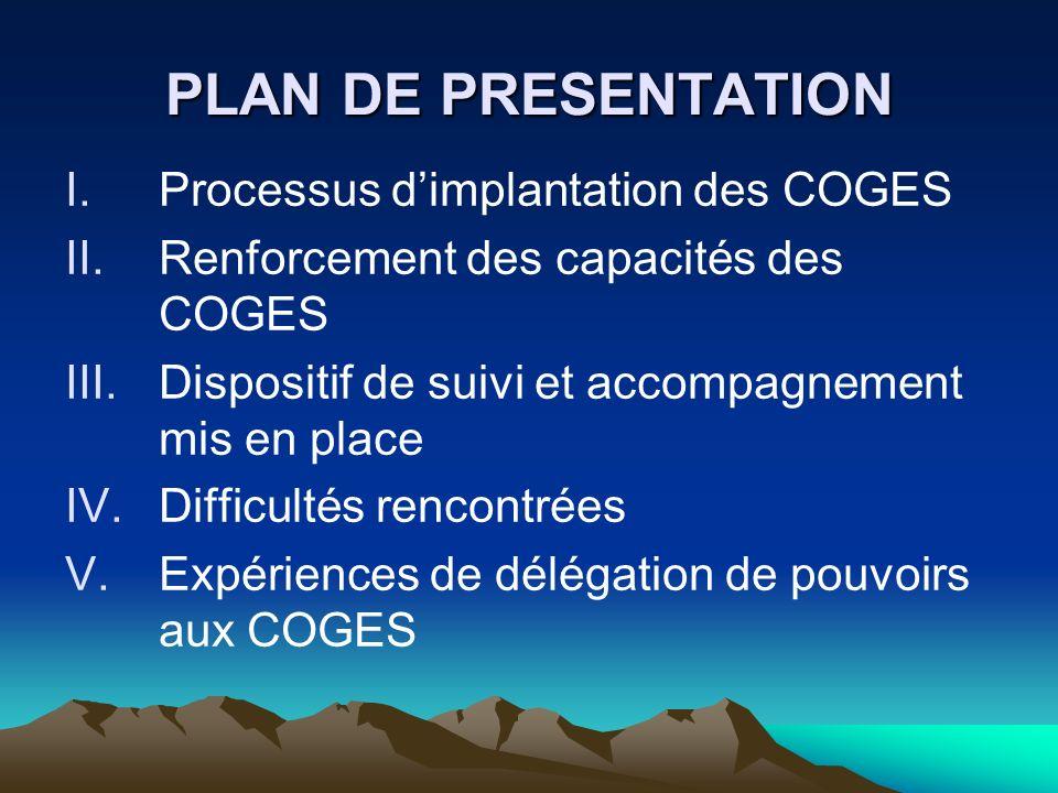 PLAN DE PRESENTATION Processus d'implantation des COGES
