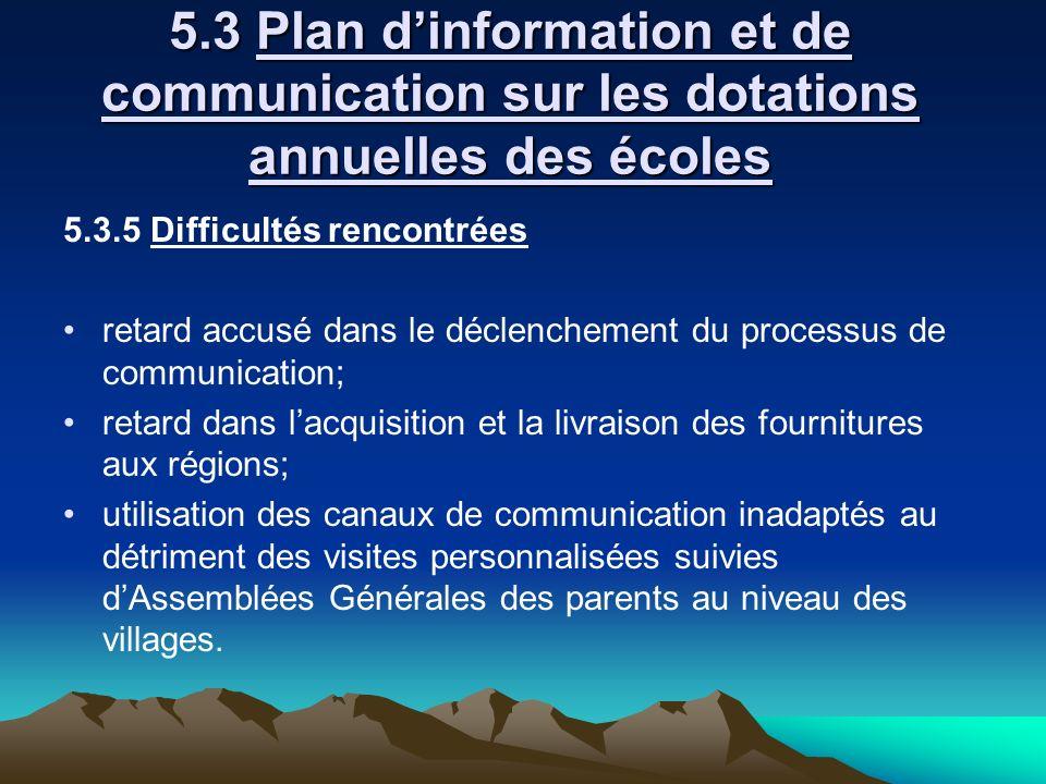 5.3 Plan d'information et de communication sur les dotations annuelles des écoles