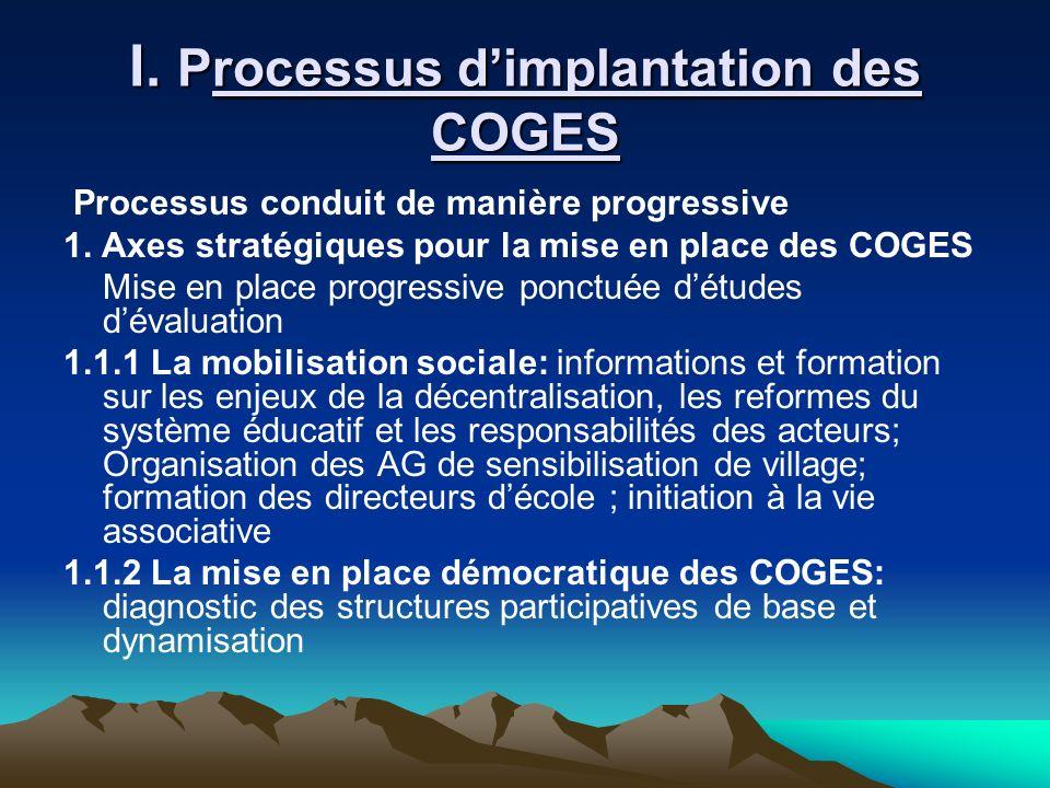 I. Processus d'implantation des COGES