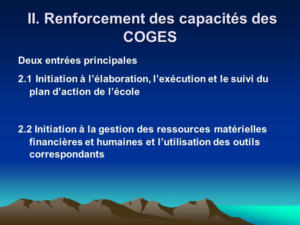 II. Renforcement des capacités des COGES