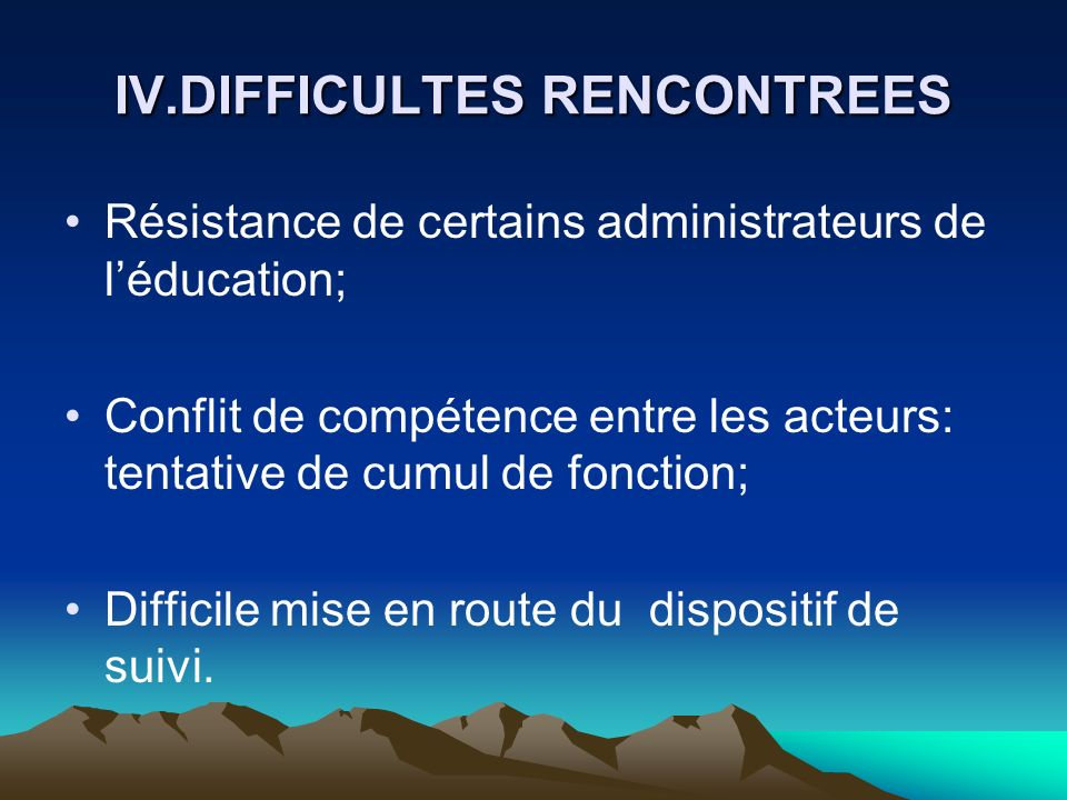 IV.DIFFICULTES RENCONTREES