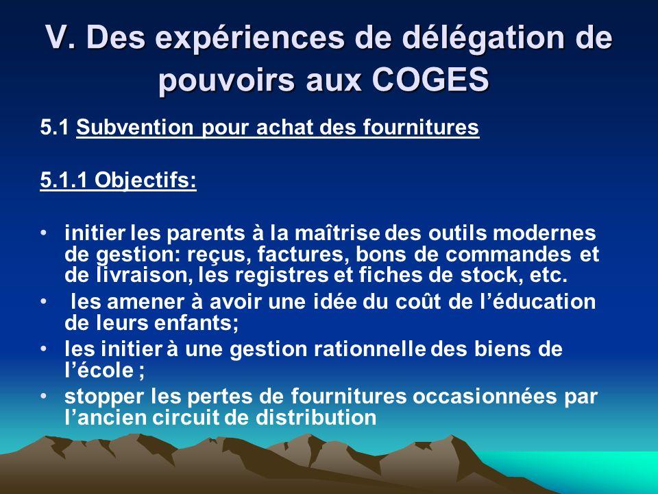 V. Des expériences de délégation de pouvoirs aux COGES