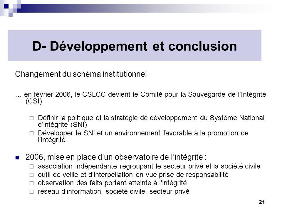 D- Développement et conclusion
