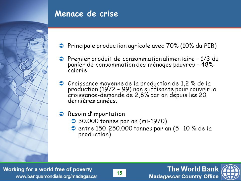 Menace de crise Principale production agricole avec 70% (10% du PIB)