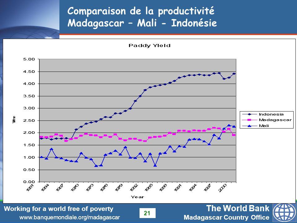 Comparaison de la productivité Madagascar – Mali - Indonésie