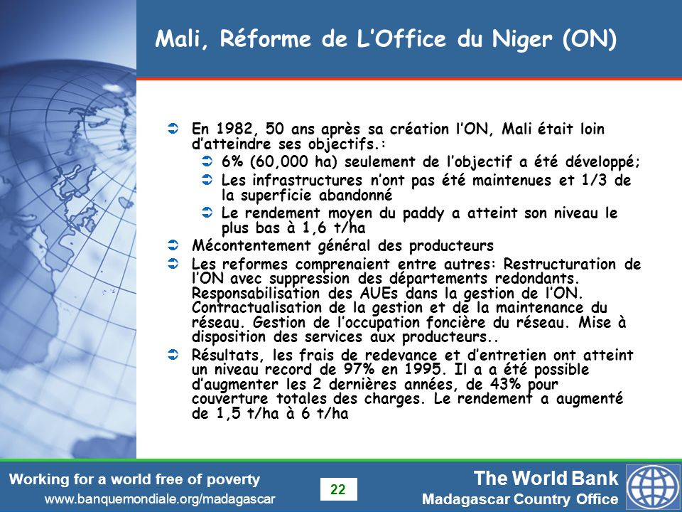 Mali, Réforme de L'Office du Niger (ON)