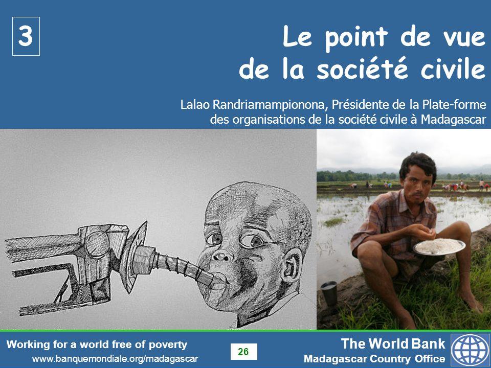 Le point de vue de la société civile