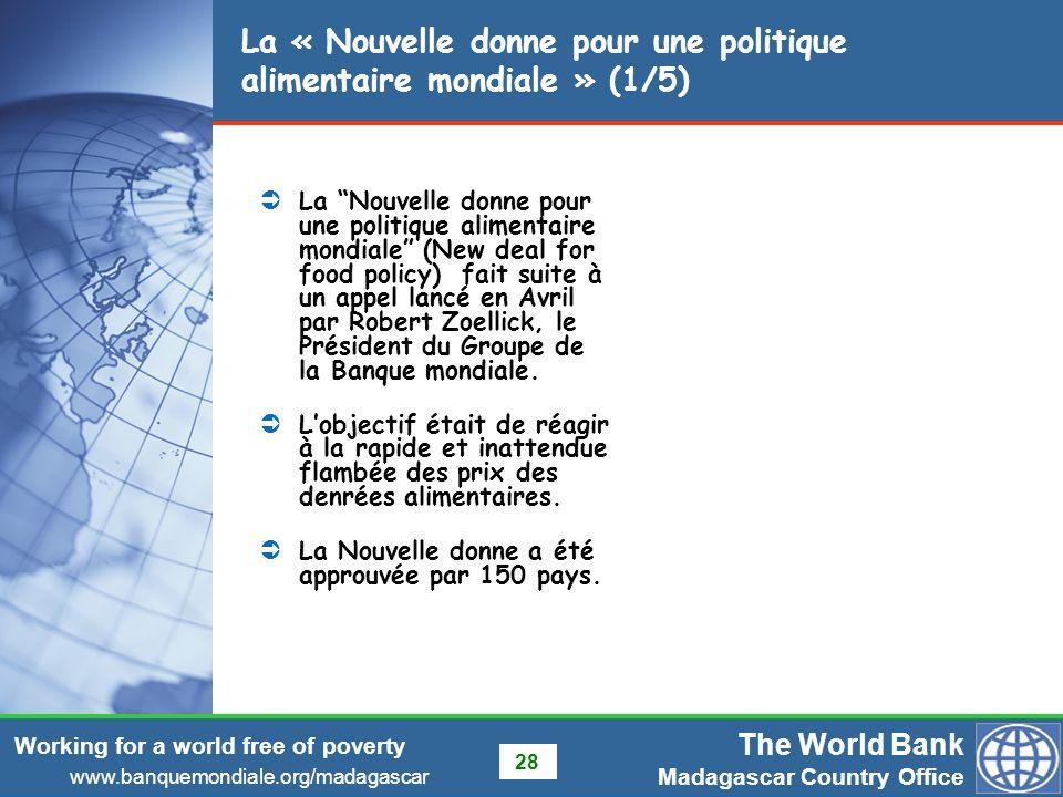 La « Nouvelle donne pour une politique alimentaire mondiale » (1/5)