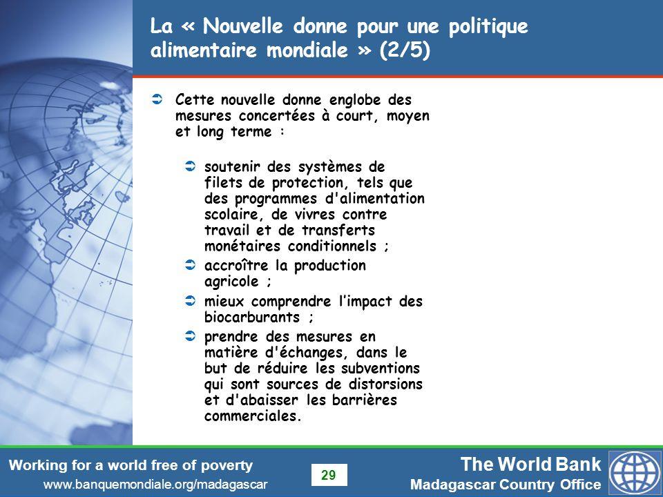 La « Nouvelle donne pour une politique alimentaire mondiale » (2/5)