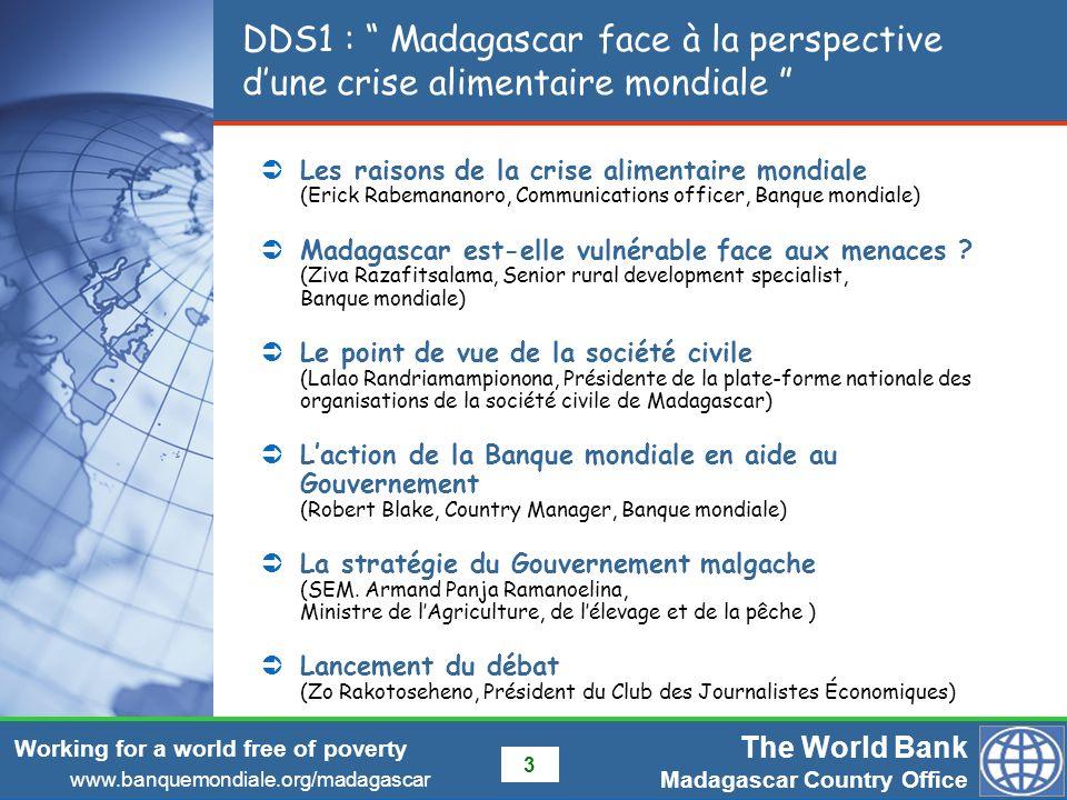 DDS1 : Madagascar face à la perspective d'une crise alimentaire mondiale
