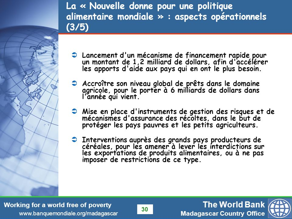 La « Nouvelle donne pour une politique alimentaire mondiale » : aspects opérationnels (3/5)