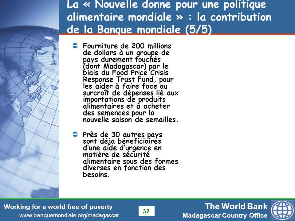 La « Nouvelle donne pour une politique alimentaire mondiale » : la contribution de la Banque mondiale (5/5)