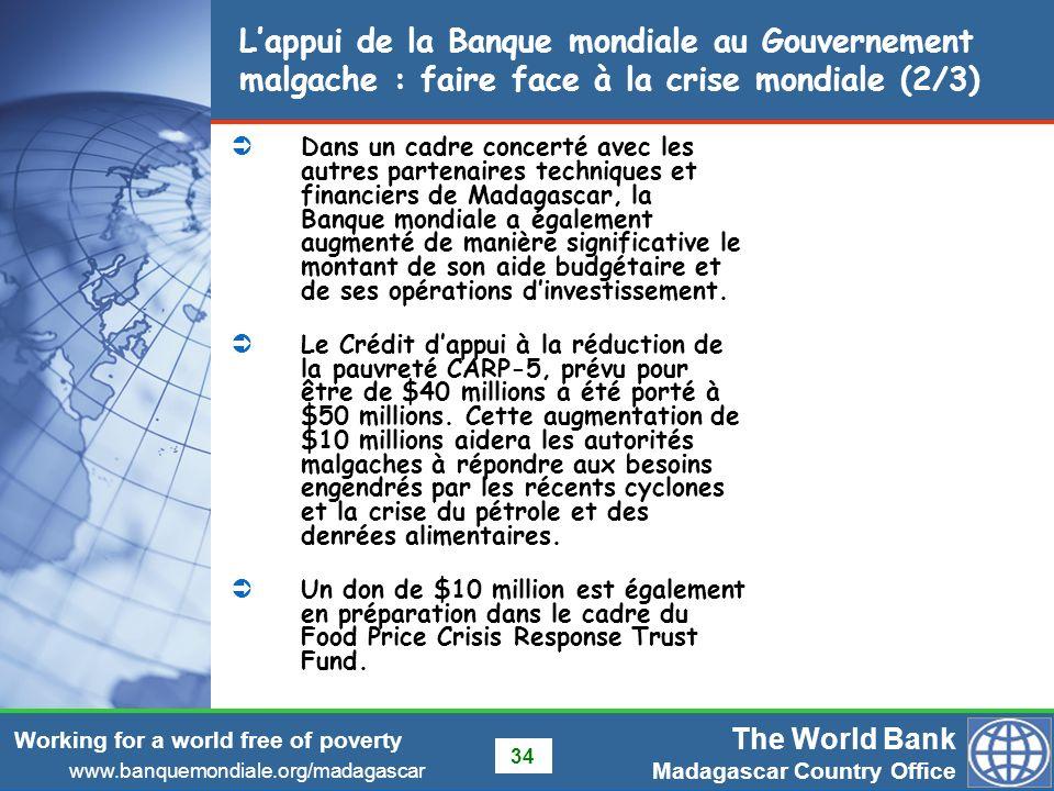 L'appui de la Banque mondiale au Gouvernement malgache : faire face à la crise mondiale (2/3)