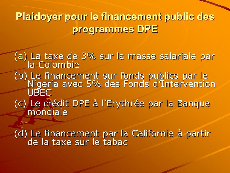 Plaidoyer pour le financement public des programmes DPE