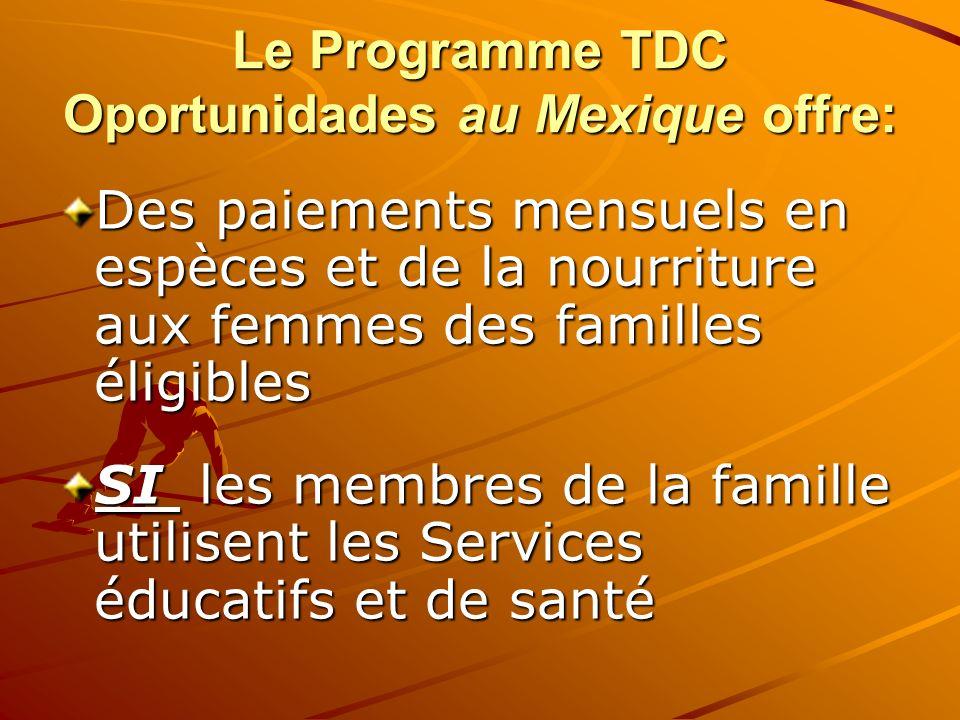 Le Programme TDC Oportunidades au Mexique offre: