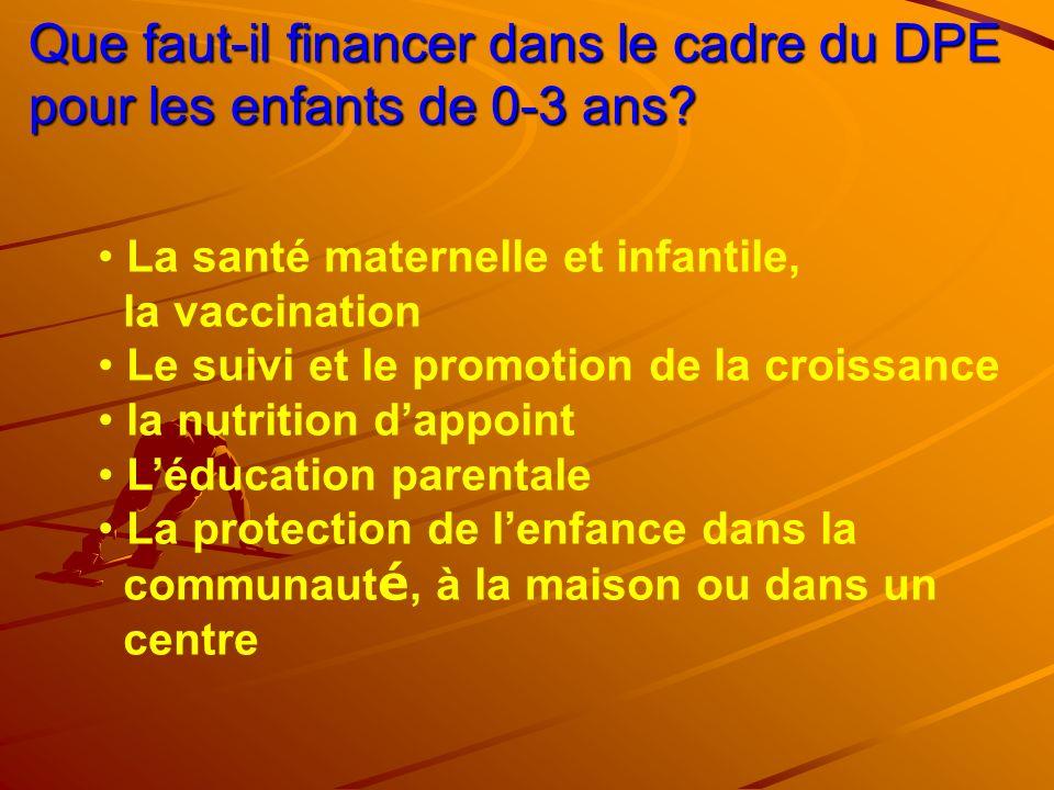 Que faut-il financer dans le cadre du DPE pour les enfants de 0-3 ans
