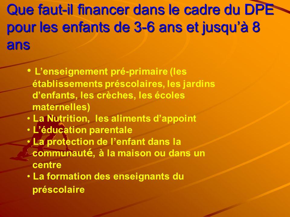 Que faut-il financer dans le cadre du DPE pour les enfants de 3-6 ans et jusqu'à 8 ans