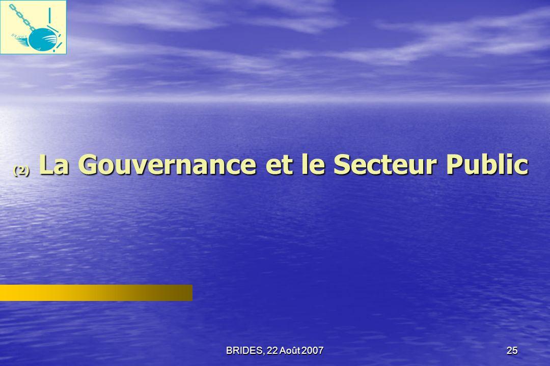 (2) La Gouvernance et le Secteur Public