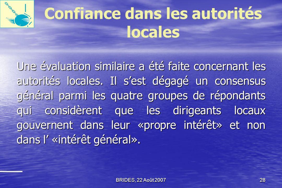 Confiance dans les autorités locales