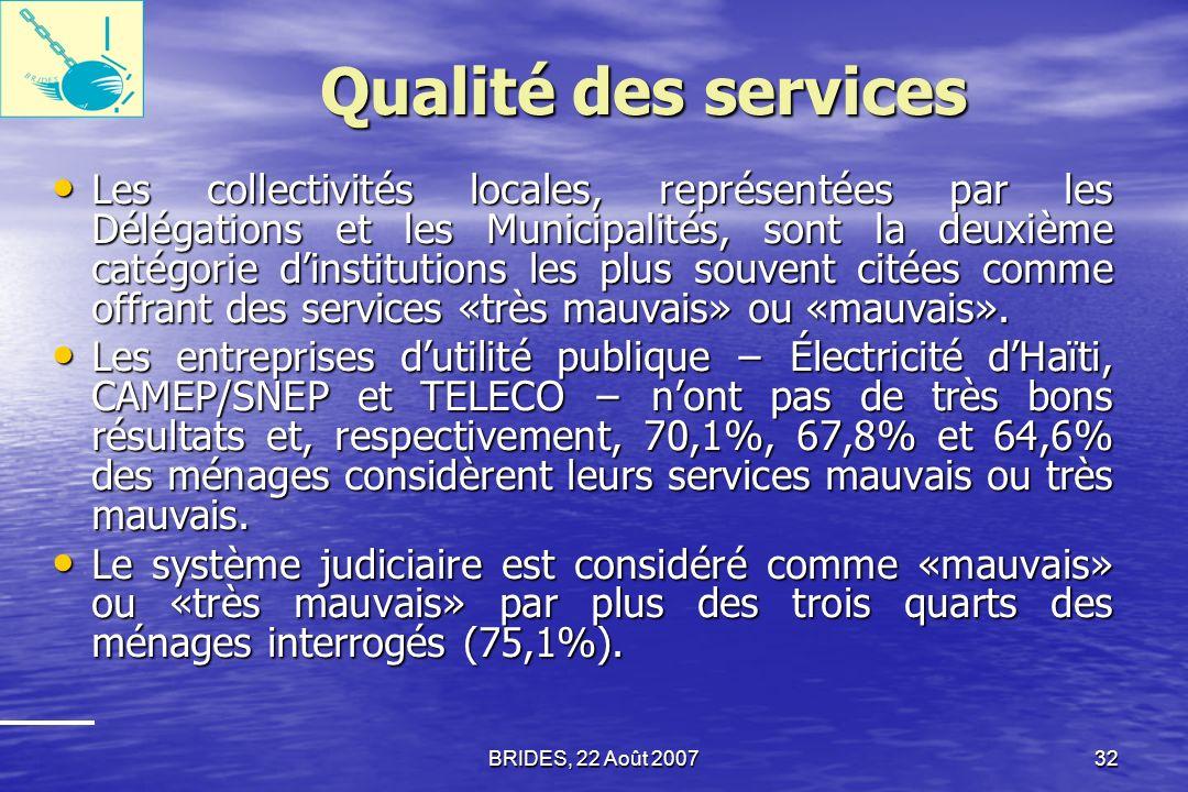 Qualité des services