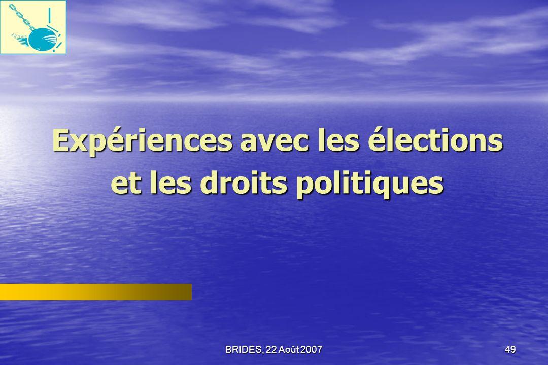 Expériences avec les élections et les droits politiques