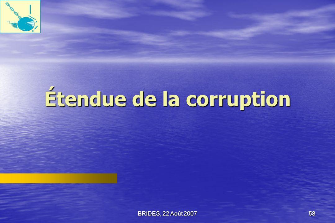 Étendue de la corruption