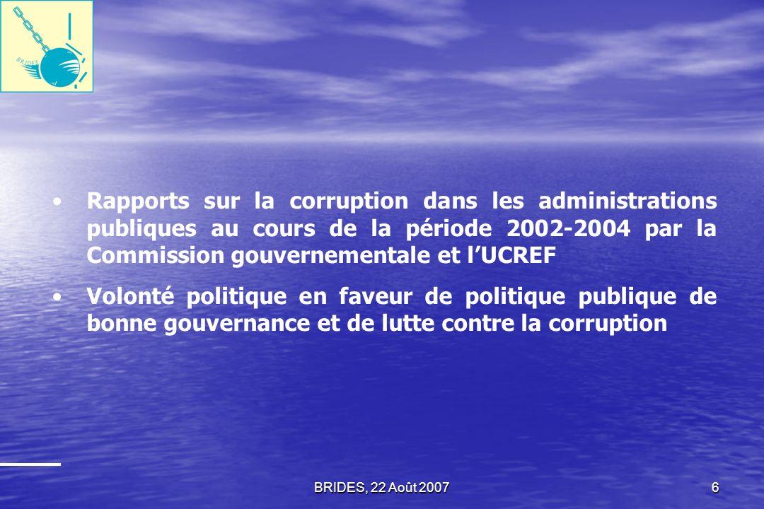 Rapports sur la corruption dans les administrations publiques au cours de la période 2002-2004 par la Commission gouvernementale et l'UCREF